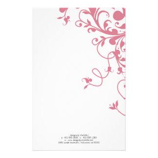 flourish; pink personalized stationery