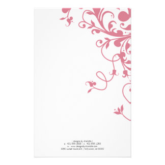 flourish; pink stationery