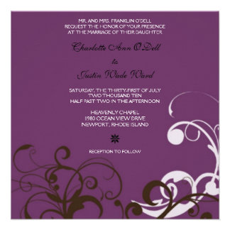flourish purple wedding personalized invitation