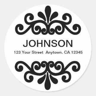 Flourish round return address label