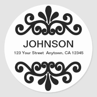 Flourish round return address label round sticker