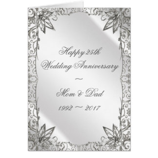 Flourish Silver 25th Wedding Anniversary Card