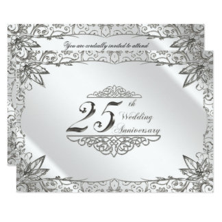 Flourish Silver 25th Wedding Anniversary Invite