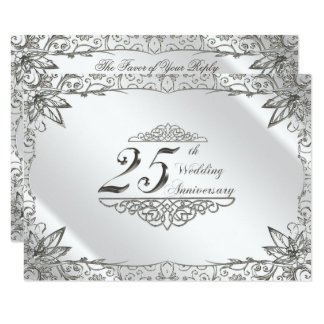 Flourish Silver 25th Wedding Anniversary RSVP Card