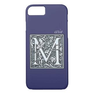 flourish silver monogram - M iPhone 7 Case