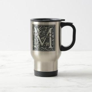 flourish silver monogram - M Travel Mug