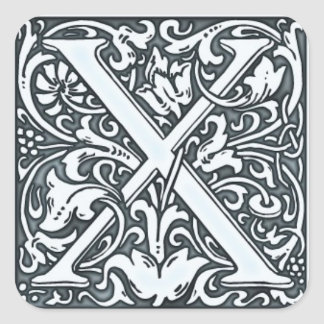 flourish silver monogram square stickers