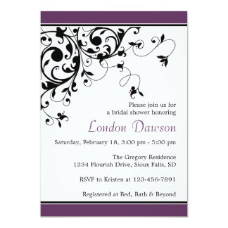 Flourish Swirl Eggplant Bridal Shower Invitations