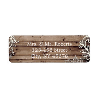 flourish swirls lace barn wood country wedding return address label