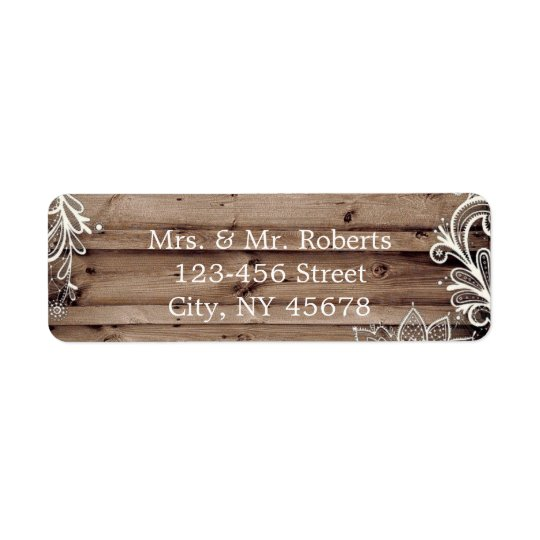 flourish swirls lace barn wood country wedding return address label