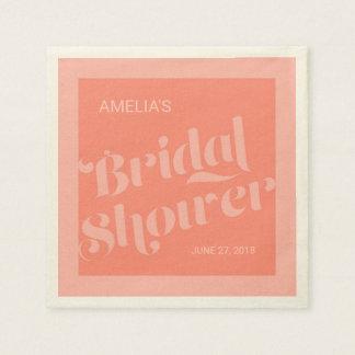Flourish Typography Salmon Coral Bridal Shower Disposable Napkins