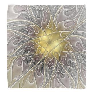 Flourish With Gold Modern Abstract Fractal Flower Head Kerchief