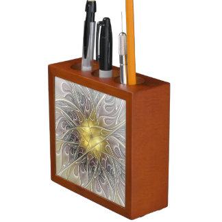 Flourish With Gold Modern Abstract Fractal Flower Pencil/Pen Holder
