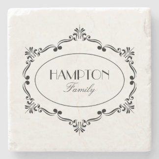 Flourished Custom Family Name Stone Coaster