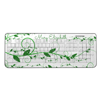 Flourished Green Vines Personalised Wireless Keyboard