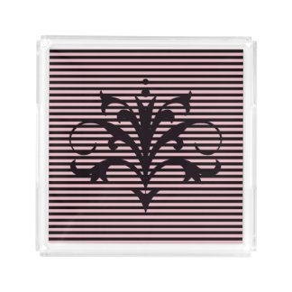 Flourished Pink and Black Horizantal Stripes Acrylic Tray