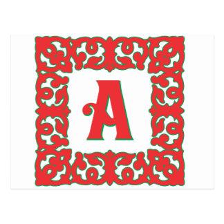Flourished Red Framed Monogram A Postcard