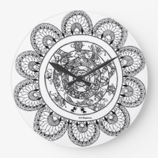 Flourishing floral patterns large clock