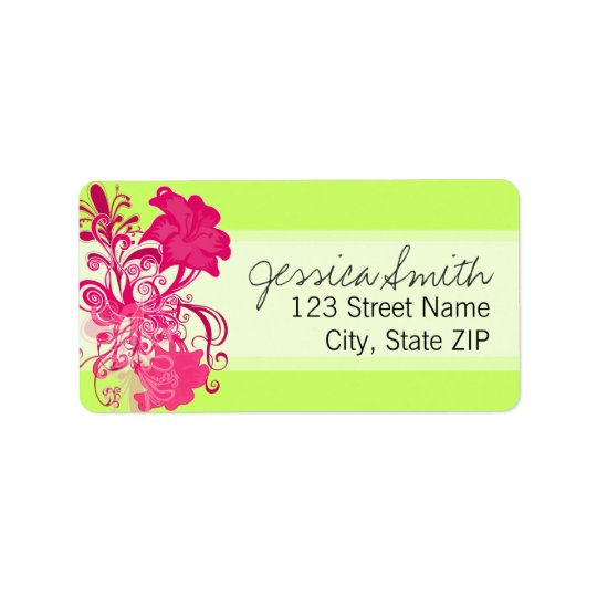 Flourishing Pink Flowers in Lime Address Label