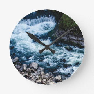 flow of the river white round clock