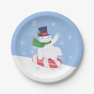 Flowby the Snowman Paper Plate