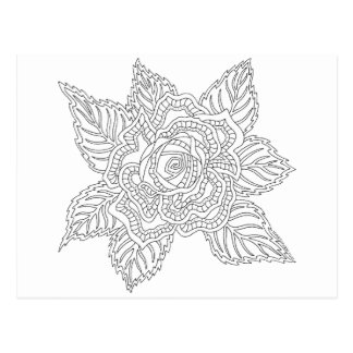 Flower 020617 Adult Colouring Best Friends Rose Postcard