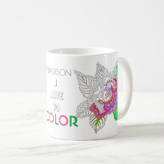 Flower 020617 Adult Colouring Fun I Love To Colour Coffee Mug
