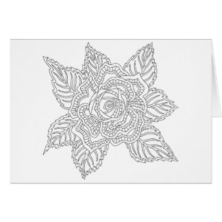 Flower 020617 Adult Colouring Happy Birthday Rose Card