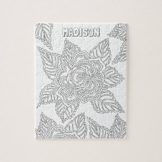 Flower 020617 Adult Colouring Rose Optional Name Puzzle