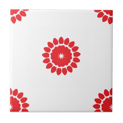 Flower 4 Pattern Red Ceramic Tile
