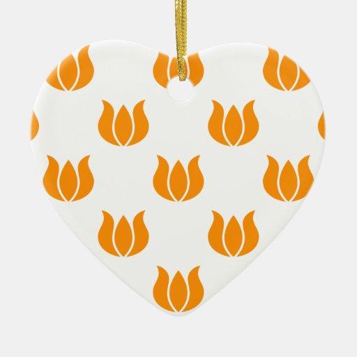 Flower 5 Pattern Orange Christmas Tree Ornaments