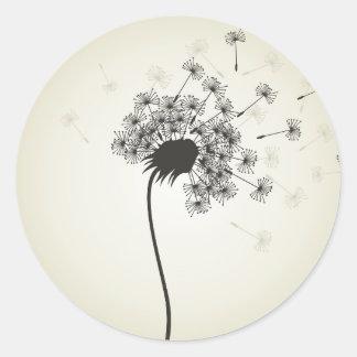 Flower a dandelion classic round sticker