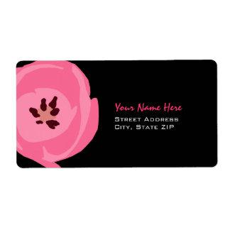 Flower Address Label - Pink Tulip