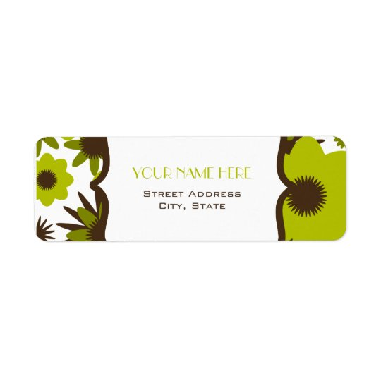 Flower Address Label - Retro Green Flowers