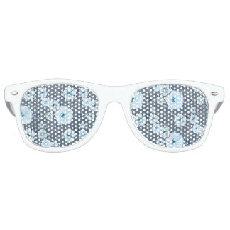 Flower Adult Retro Party Shades, White glasses