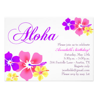 Flower Aloha Birthday Invitation