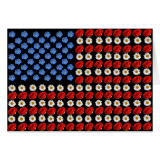 Flower American Flag Greeting Card