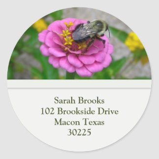 Flower and Bee Address Label Round Sticker
