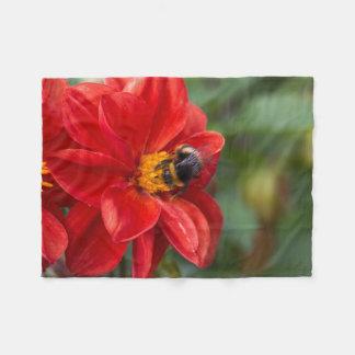 Flower and bee fleece blanket