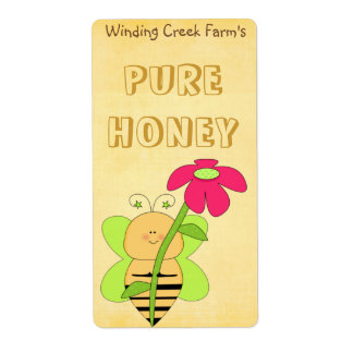 Flower and Bee Pure Honey Label