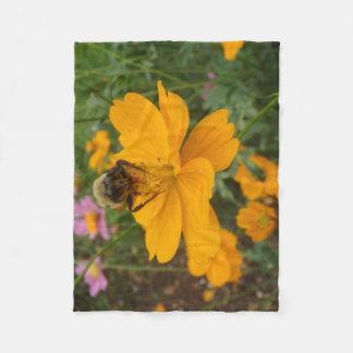 Flower and Bee Throw Fleece Blanket