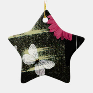 Flower and Butterflies Ceramic Star Decoration