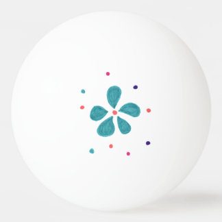 Flower and Dots Pattern Ping Pong Ball