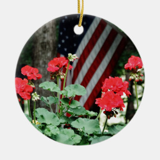 Flower and flag Red white and blue Ceramic Ornament