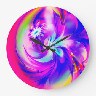 Flower And Fucsia♥ Large Clock