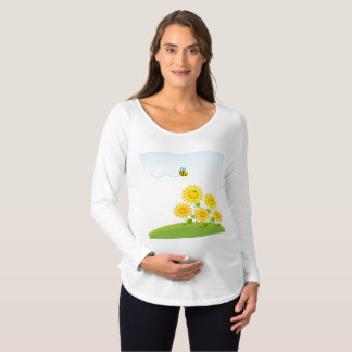Flower and Honey Bee Maternity Long Sleeve T-Shirt