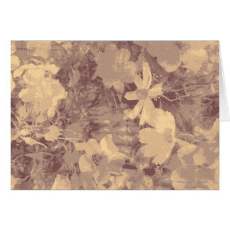 Flower and leaf camouflage pattern on beige card