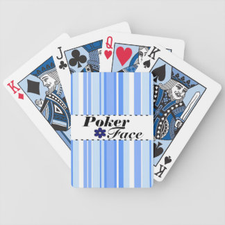 Flower and Stripes Blue Poker Face Playing Cards
