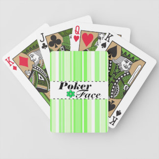 Flower and Stripes Green Poker Face Playing Cards