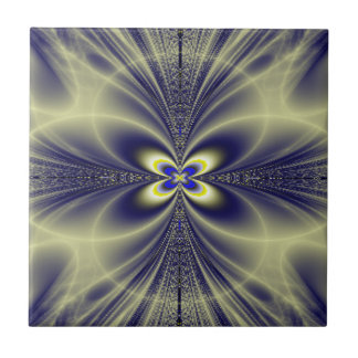 Flower and Swirls Fractal Small Square Tile